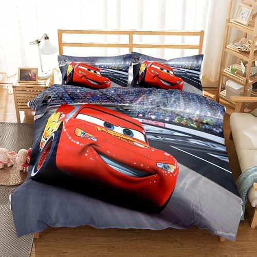 QWAS McQueen Juego de ropa de cama, 3 piezas, funda nórdica para niños, ropa de cama, (L3,220 x 240 cm + 50 x 75 cm x 2)