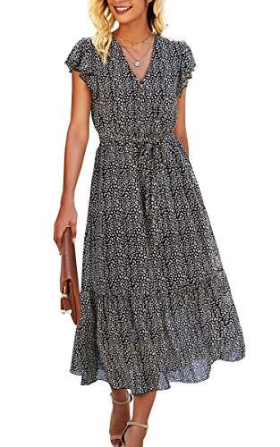 Angashion Women's Dresses Short Sleeve Wrap V Neck Ruffle Floral Printed Midi Dress with Belt Black Small