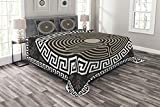 Ambesonne Greek Key Bedspread, Grecian Fret and Wave Pattern on Dark Background Antique Retro Swirls, Decorative Quilted 3 Piece Coverlet Set with 2 Pillow Shams, King Size, Brown Coconut