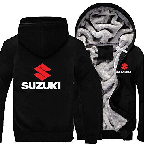 Herren Sweatshirts Suzuki Hoodies Pullover Langarm Fleece Jacken Full Zip Hooed Mäntel - Herbst Winter Warm Thick Sweater Outwear Tops,Schwarz,5XL