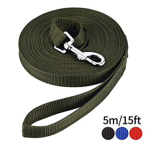 HAPPY HACHI Schleppleine Geflochten Hundeleine führen Lange Seil Nylon Gurtband Recall Ausbildungsleine Leine für Pet (Länge 16.4ft/5m, Army grün)