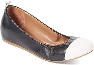 ED Ellen DeGeneres Womens Lilliane Cap Toe Ballet Flats, Black/Milk, Size 8.0
