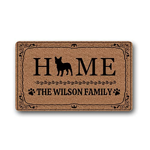 Personalized Custom Family Name French Bulldog Doormat Home Decorative Indoor Outdoor Entrance Floor Mat Rug for Entrance 15.7x23.6 inch