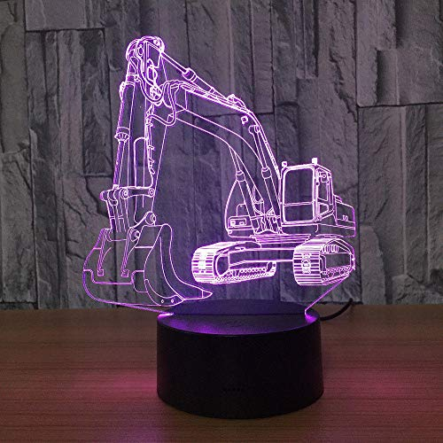 7-Color Excavator Led Table Lamp 3D Touch Illusion Night Light Usb Shop Bar Bedroom Decor Gift Light