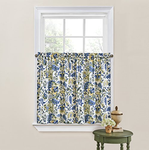 """Waverly Kitchen Curtains for Windows - Imperial Dress 52"""" x 36"""" Small Window Panel Tiers Privacy Window Treatment Pair Bathroom, Living Room, Porcelain"""