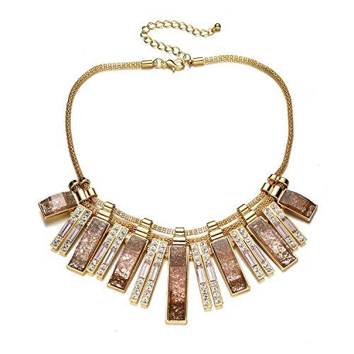 Vintage oro tono catena collare collana girocollo cristallo scintillante per party (Marrone collana girocollo)