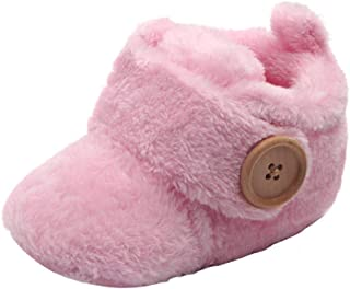 Beppter Fleece Booties, Newborn Infant Unisex Round Toe Flats Toddler First Walkers Soft Slippers(Pink, 6-9Months)