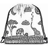 jenny-shop Paisaje Decorativo Elefantes Zentangle Ornamentales Las Artes para Colorear Mochila con cordón Gimnasio Saco Bolsa Ligera