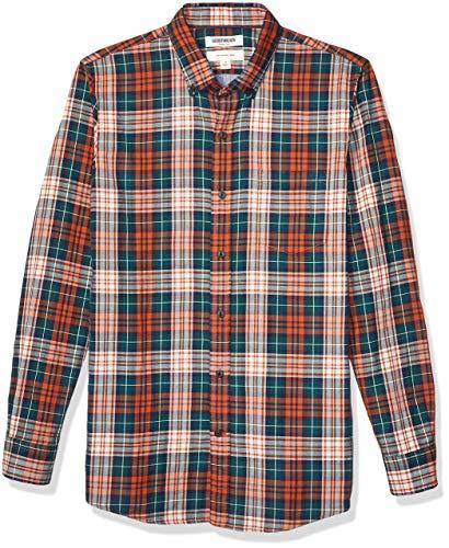 Marca Amazon – Goodthreads – Camisa reversible de manga larga de corte entallado para hombre, Rust Green Tartan With Chambray, US S (EU S)
