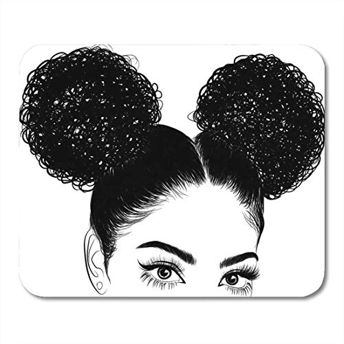 Mouse Pads Brown Afro Black Woman Curls for Graphic Tee Idea Mouse Pad for Notebooks, Desktop Computers MatsOffice Supplies 11.8-inch by 9.85-inch