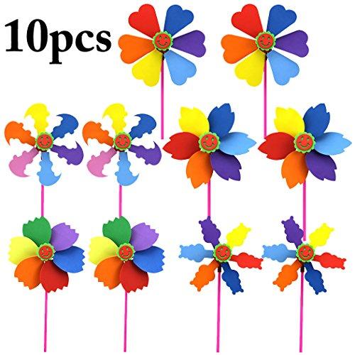 Windmühle Kinder, Funpa 10 Stücke DIY Windmühle Spielzeug Windräder Garten Windspiel für Kinder Rainbow Pinwheel Garten Rasen Dekoration Windspiele Foto Requisiten