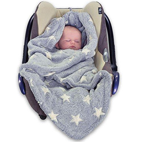 HOPPEDIZ Fleece-Decke für 3 & 5 Punkt-Gurtsysteme Einschlag-/Auto-/Krabbeldecke grau/creme mit Sternen