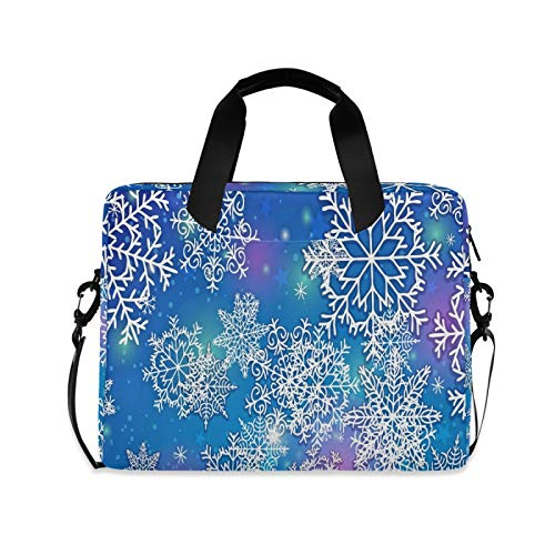 Snowflake Blue Purple Laptop Shoulder Messenger Bag with Strap for 15.6 inch 16 inch Laptop Travel-Friendly Briefcase Notebook Computer Sleeve Case