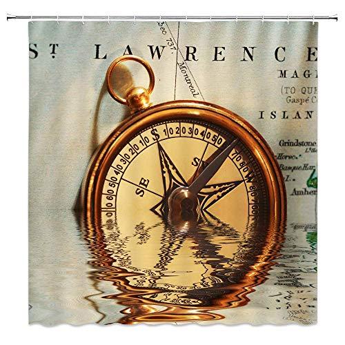N\A Vintage Compass Decor Home Duschvorhang Kanada Seekarte Antik Messing Instrument Wasserdicht Polyester Stoff Badzubehör Gardinen mit Haken