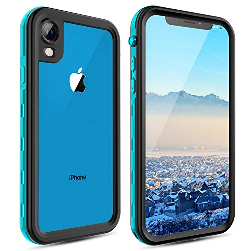 FXXXLTF Apple iPhone XR Case, Full-Body Protective iPhone XR Waterproof Case, Shockproof Snowproof Clear Cover Case for iPhone XR (Teal Clear Back)
