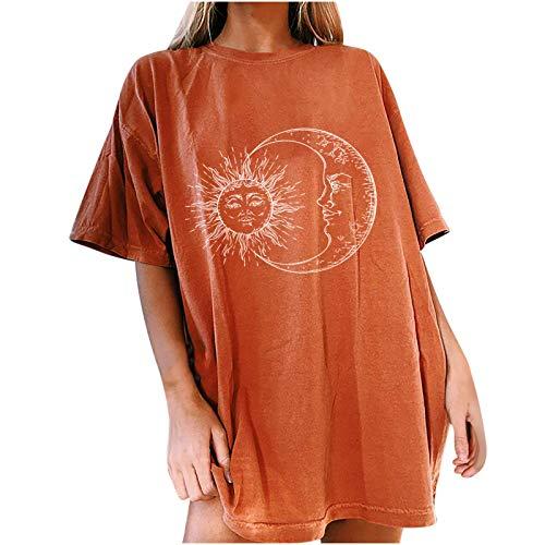 Jamicy Oversized Tshirt Damen Sonne Mond Motiv Sportshirt Kurzarm, Sport Oberteile Vintage Sweatshirt Damen Rundhals Oberteile Teenager Mädchen Best Friends T Shirts Damen Lang (Orange-03, L)