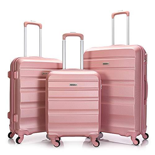 BONTOUR Kofferset Suitcase Set, Hartschalenkoffer 4 Rollen aus ABS Material (Rose Gold, Kofferset 3 teilig)