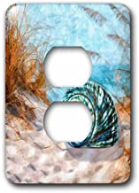 3dRose Blue seashell on the beach in an ocean cove with summer grasses., 2 Plug Outlet Cover