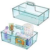 mDesign 2er-Set Caddy mit jeweils 2 Fächern für Babysachen – Aufbewahrungsbehälter mit Griff aus Kunststoff – praktischer Tragekorb für Creme, Thermometer, Spielsachen, Babynahrung usw. – blau