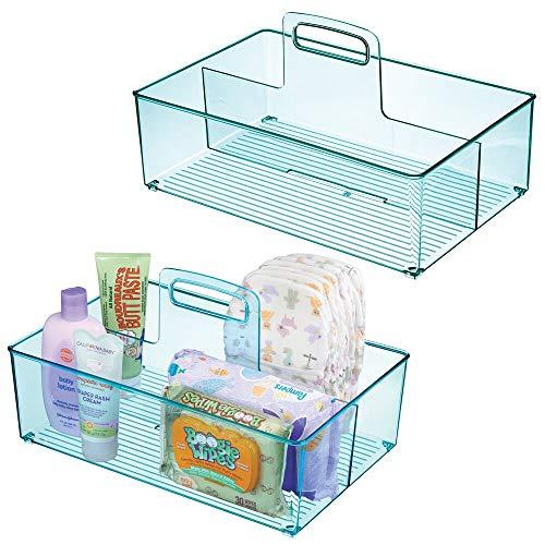 mDesign Juego de 2 cestas organizadoras con 2 compartimentos para artículos de bebé – Cesta con asa de plástico – Prácticas cestas multiusos para cremas, juguetes, alimentos, etc. – azul