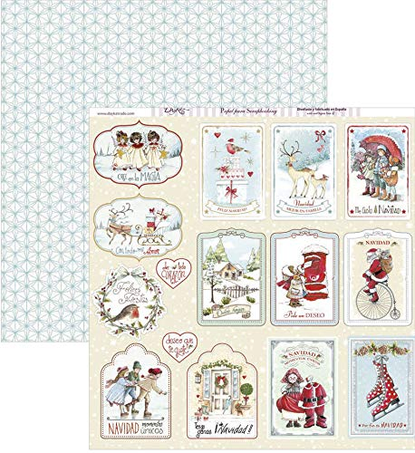 Dayka Trade Papel para scrap Etiquetas Navidad, Multicolor, Talla unica
