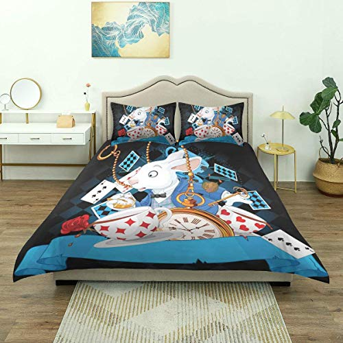 Nonun Duvet Cover,Rabbit Amazing with Motion Cups Hearts Rose Flower Character Alice Cartoon, Bedding Set Comfy Lightweight Microfiber (3pcs Quilt Cover)