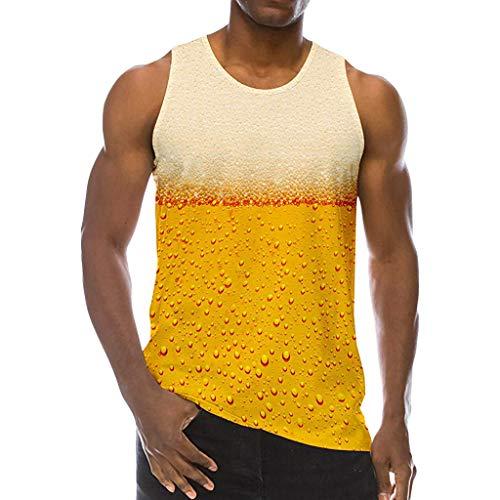 Tyoby Herren Weste Kontrast spleißen Farbdruck Mode Ärmellos Oberteil Sommer Sexy Herrenbekleidung Schnitt Tops(Gelb,XXXL)
