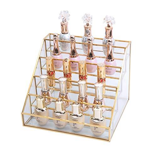 Estante de la joyería El metal de cristal transparente joyería sostenedor de la exhibición del lápiz labial, esmalte de uñas, perfume, soporte de exhibición de joyería Caja de almacenamiento c