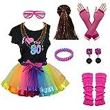 I Love 80s Rainbow Tutu Skirt Child Girl's Costume Accessories Set (8-10, Rainbow)