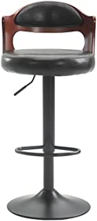 bar stool European Retro bar Chair Solid Wood backrest Chair Lift Office Reception high Stool Oil Wax Plated Footstool White and Brown Optional 454260cm (Color : B)