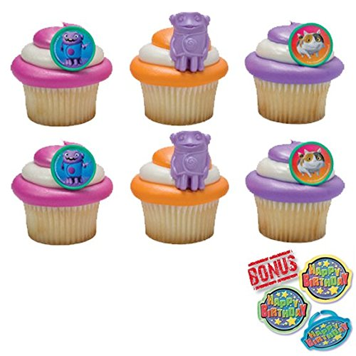 Bundle of Fun Home Oh & Pig Cupcake Toppers and Bonus Birthday Ring - 25 Pieces
