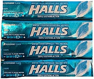 Halls Triple Soothing Action Drops | Ice Peppermint Flavor Cough Drops | Menthol Cough Suppressant and Oral Anesthetic | 9 Drop Sleeves | Pack of 4 Sleeves