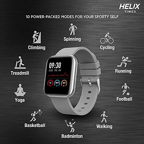 Helix Timex Metalfit SPO2 smartwatch with Full Metal Body and Touch to Wake Feature, HRM, Sleep & Activity Tracker, 10 Days Battery and Female Health Monitor