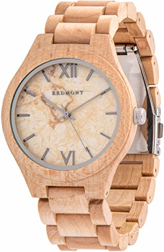 Oliver Redmont Reloj de Madera para Hombres Classic Collection White Marble Edition