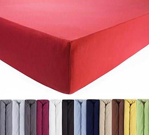 ENTSPANNO Jersey Spannbettlaken für Wasser- und Boxspringbett in Koralle-Rot aus Baumwolle. Spannbetttuch mit Einlaufschutz, 180 x 200 | 200 x 200 | 200 x 220 cm, bis 40 cm hohe Matratzen