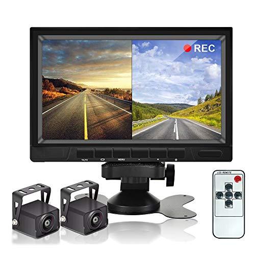 Dual Backup Camera System Videorekorder Kamera CAMECHO 7 Zoll 2 Split Monitor Wasserdicht Nachtsicht HD Rückfahrkameras Kit 12V-36V