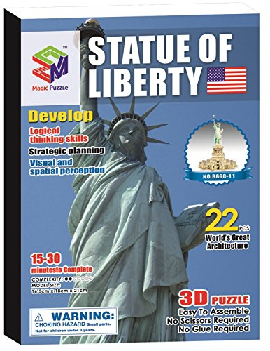 Magic-Puzzle 3D Puzzle, Estatua de la Libertad, 22 Piezas