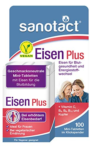 sanotact Eisen Plus Mini-Tabletten - 100 Stk, bei Eisenmangel, mit Kupfer & 4 Vitaminen, geschmacksneutral, im praktischen Klickspender, vegan