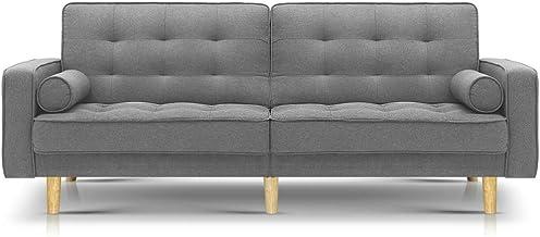 Artiss 195cm Length Fabric Lounge Sofa Bed, Light Grey
