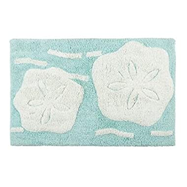 "Nantucket H Coastal Sand Dollar Tufted Cotton Soft Bath Mat 20""L x 32""W"
