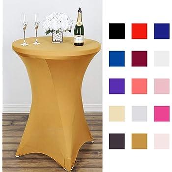 Generic Aboyia Lot de 5 housses extensibles pour table de bistrot Blanc /Ø 80 cm