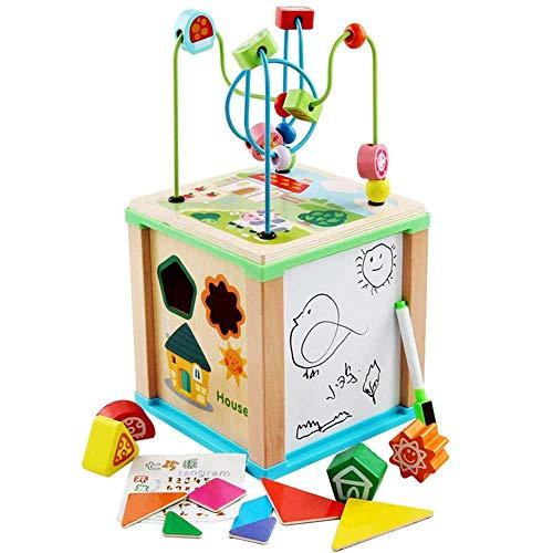 Juego cerebral Cubo de laberinto de madera móvil - Ideal para juegos para niños y habilidades de desarrollo de la primera infancia Juguetes educativos (Color: Multicolor, Tamaño: Tamaño libre) Detazhi