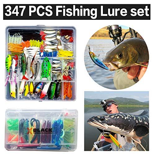 XBLACK 釣りルアーセット 釣具セット 143個 ソフトルアー ハードルアー ワーム フライ ケース付き 大人気 多種類 釣り初心者におすすめ 347本