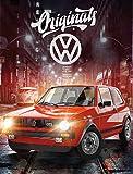 Große VW Volkswagen Fleece-Decke Golf GTI Rot 130 cm x 170 cm Oldtimer Race Wörthsee Auto Car Decke Kuscheldecke Tagesdecke Schmusedecke Flauschdecke Wohndecke Tagesdecke passend zur Bettwäsche 088