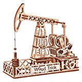 Wood Trick Oil Derrick Rig Toy - Oil Pump Jack Mechanical Model to Build - 3D Wooden Puzzle,...