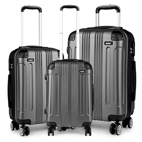 Kono Luggage Sets of 3 Piece Lightweight 4 Wheels Hard Sheel ABS Travel Trolley Suitcases (Grey)