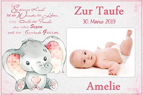 Tortenaufleger Tortenbild Taufe rosa Babyelefant Mädchen Wunschtext Foto essbar Ø 20x28cm 640