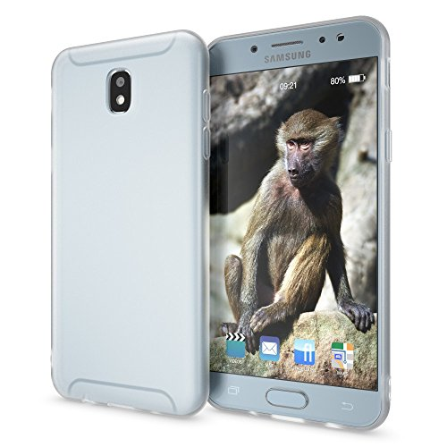 NALIA Funda Compatible con Samsung Galaxy J3 2017 (EU), Carcasa Protectora Movil Silicona Ultra-Fina Gel Bumper, Ligera Goma Cubierta Jelly Cobertura Delgado Cover Phone Case, Color:Blanc