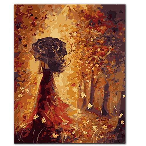 RTCKF Schöne Mädchen Rückansicht mit Regenschirm Leinwand Zeichnung Poster und Druck abstrakte Tänzerin dekorative Leinwand Kunst (kein Rahmen) A6 70x100cm
