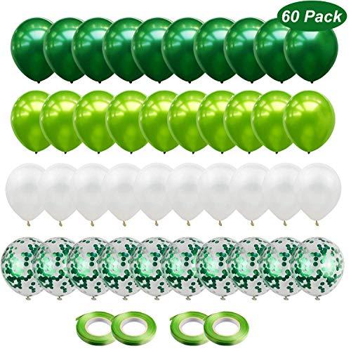Gxhong 60 Stück Luftballons Grün Weiß Ballons mit Grün Konfetti Luftballons, 12 Zoll Helium Ballons für Deko Taufe Mädchen Geburtstag Hochzeit (Grün Weiß)